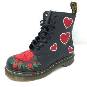 Dr Martens Pascal Sequin Hearts Combat Boots